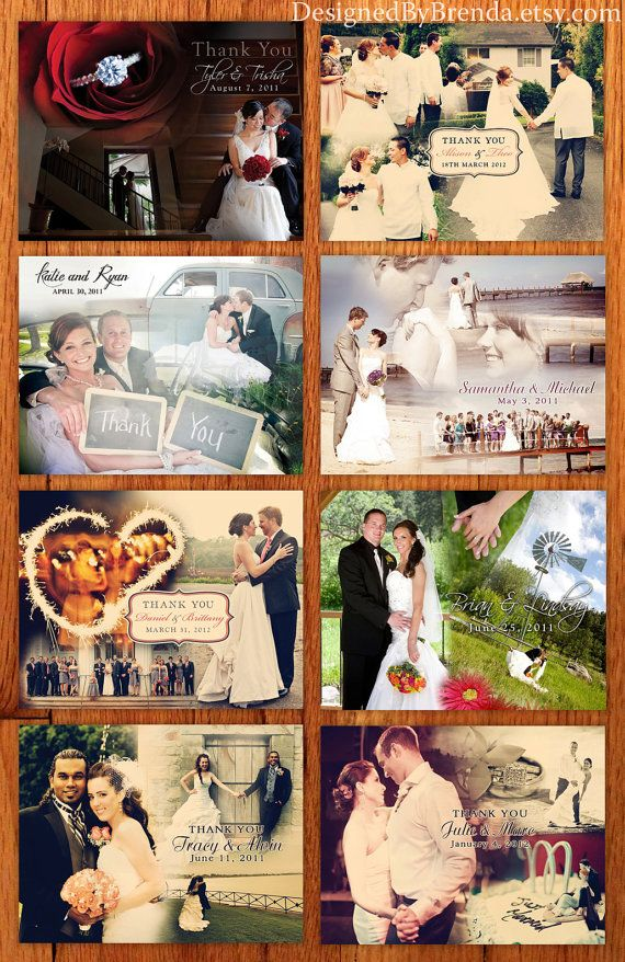 Blended Photo Collage - Wedding Thank You Postcard