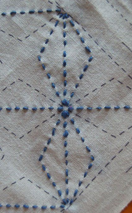 Sashiko embroidery is one of my favorite crafts. It's easy to master and the process is very meditative and relaxing. Although the patterns can look difficult, they are just a matter of breaking down the whole into linear parts. --Mari
