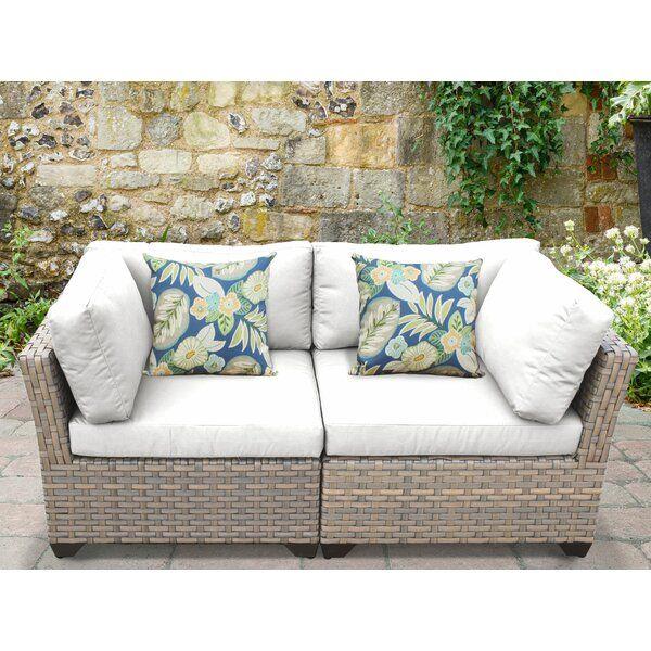 Rochford Loveseat With Cushions In 2020 Corner Fireplace Furniture Arrangement Outdoor Furniture Outdoor Deck Furniture