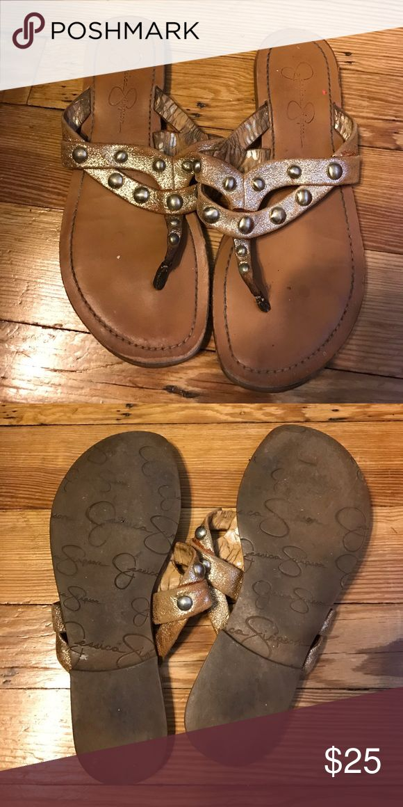 Size 7 Jessica Simpson sandals! Gold sandals, very cute! Jessica Simpson brand, size 7. Great summer sandals :) Jessica Simpson Shoes Sandals