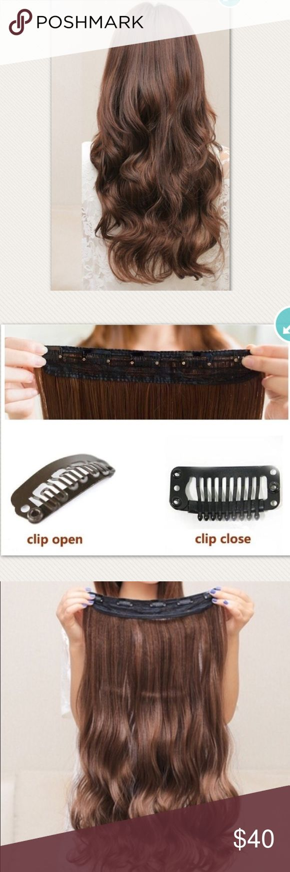 """24"""" clip on hair extensions Color - Brown - straight - one piece clip on Accessories Hair Accessories"""