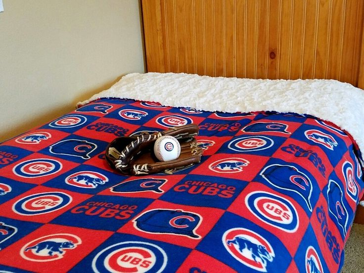 Chicago CUBS Baseball Adult Faux Fur Minky And Fleece Blanket Gift For  Husband Dad Brother Wife