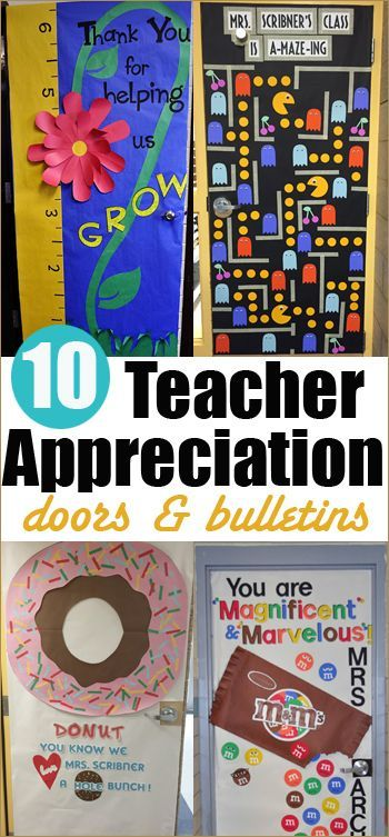 10 Teacher Appreciation Doors.  Eye catching teacher appreciation doors and bulletins.  Great ways to thank wonderful teachers.