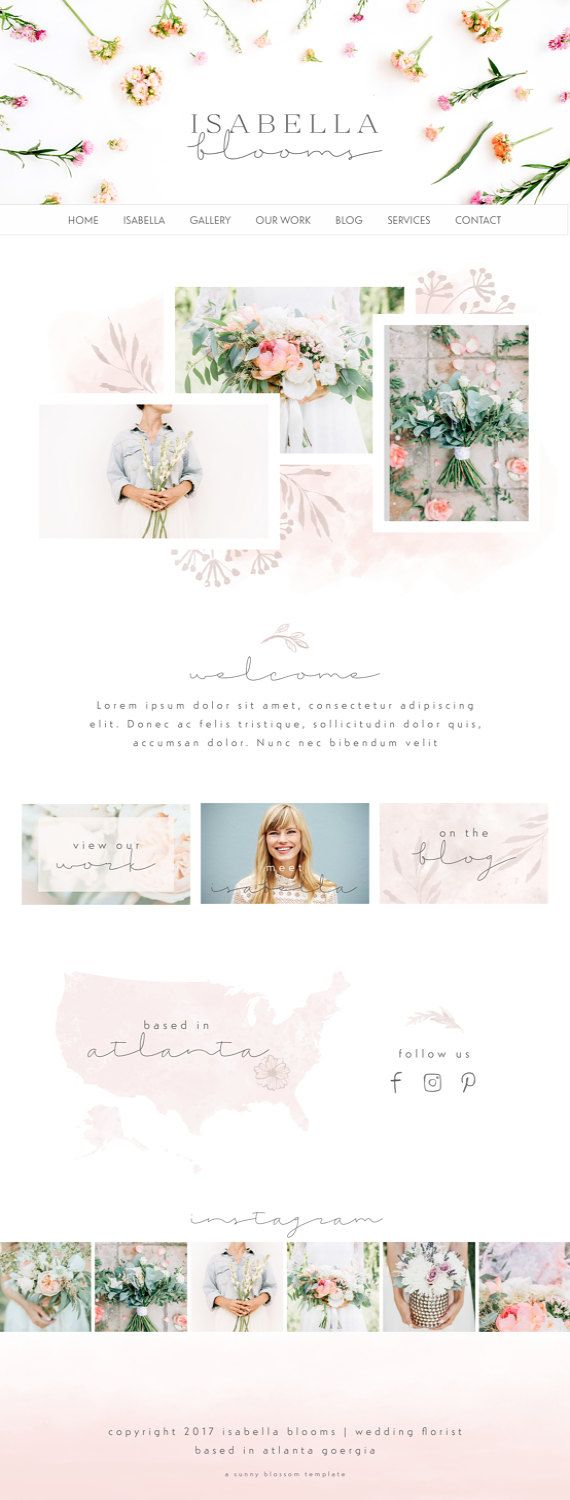 Wix Website design wedding florist website by SunnyBlossomDesigns
