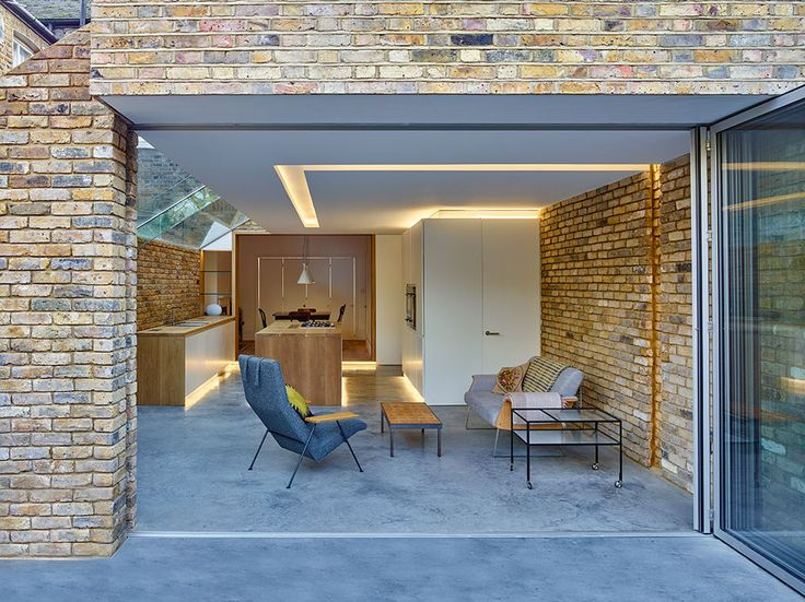 Sunflex SF55 aluminium bifolding doors used in this modern extension in London by Coffey Architects. To find out more about the SF55 bifolding door visit - http://sunflexuk.co.uk/bifold-doors/aluminium-sf55-sf75