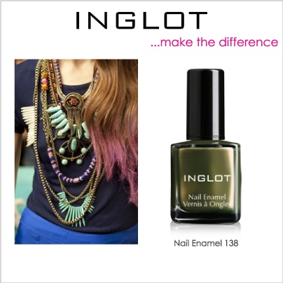 Boho chic look with a the dark olive #138 nail enamel