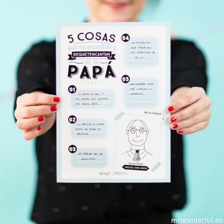Descargable para el d a del padre 5 cosas que me encantan - Que le regalo a mi papa ...
