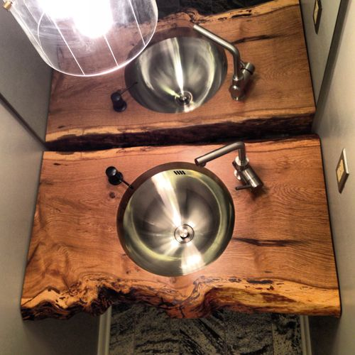 Diy slab sink modfrugal wood bob vila 39 s picks for Natural edge wood countertops
