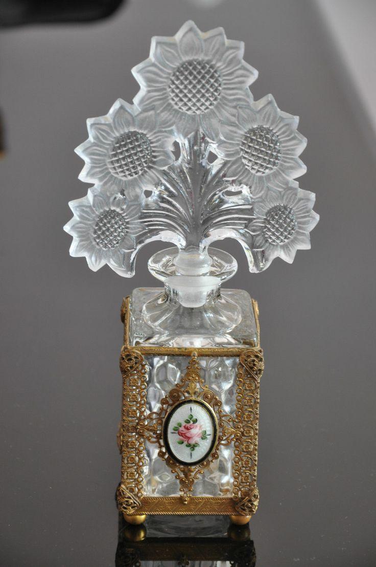 Antique Glass Perfume Bottle Filigree Case Guilloche Enamelled Medallion | on eBay ♥★♥