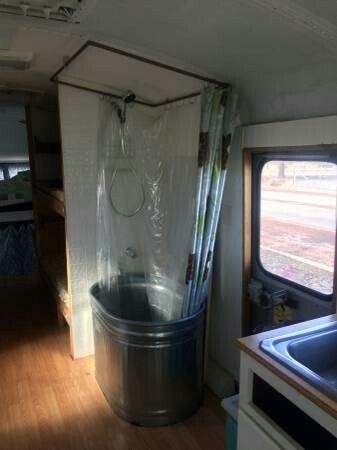 Shower Inspiration Bus Remodeled Campers School Bus