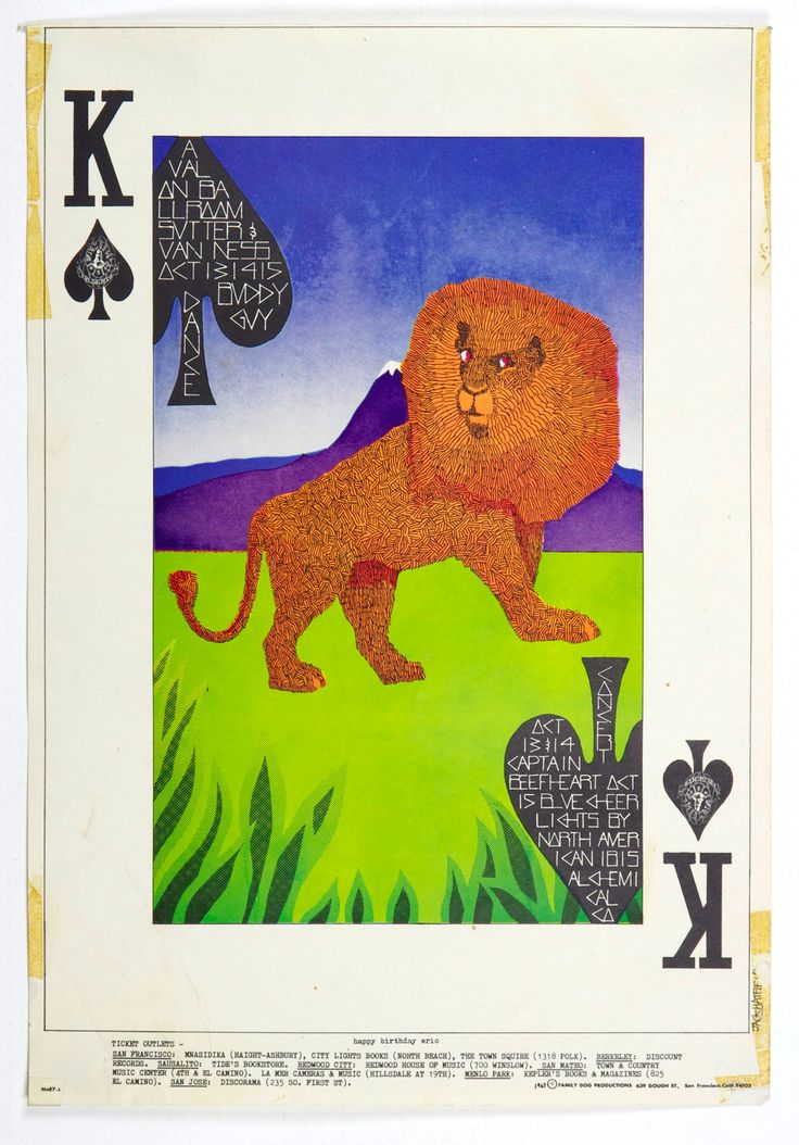 Family Dog 087 King of Spades Poster 1967 Oct 13 Buddy Guy Captain Beeftheart Blue Cheers
