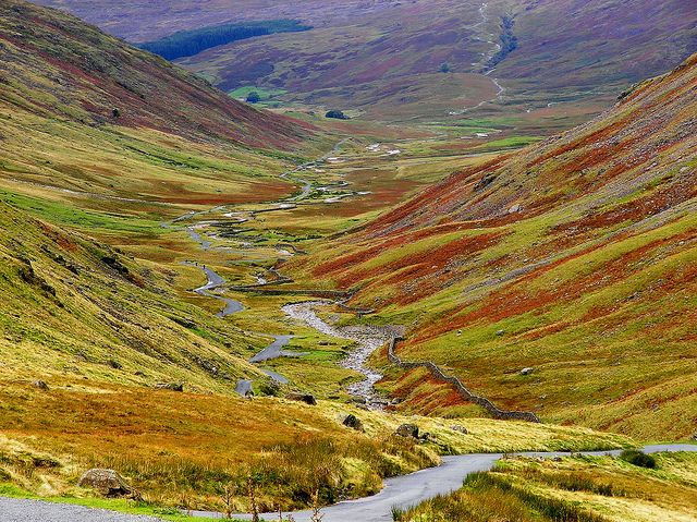 """Duddon Valley - Hardknott Pass from Wryness Pass"" - photo by Lawrence Peregrine-Trousers (Boo), via Flickr; Looking down west end of Wrynose Pass. Hardknott Pass is in the far distance snaking up to the right. (England)"