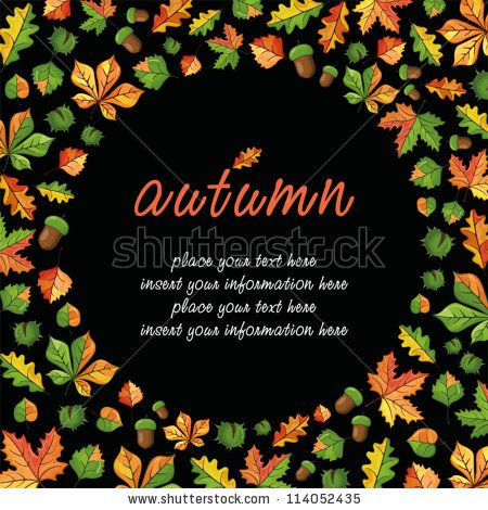 Vector frame with the image of autumn leaves, chestnuts and acorns - stock vector