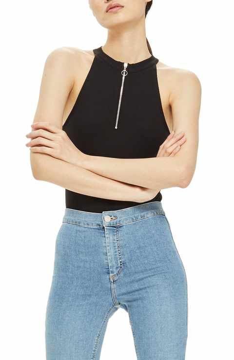 Topshop Zip Front Bodysuit Bodysuit Fashion acc70c58d