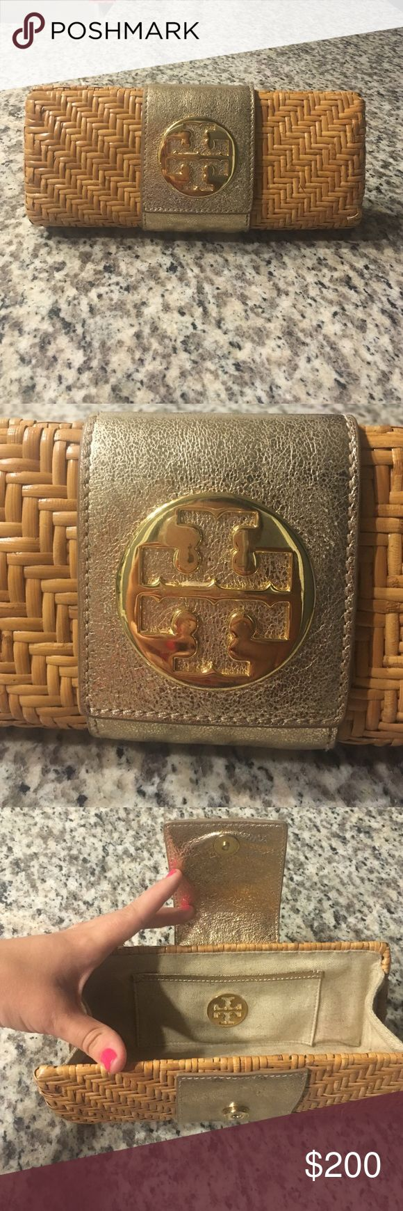 Tory Burch Rattan Clutch gold clutch used a few times in good condition only has a couple pink lipstick stains inside the clutch Tory Burch Bags Clutches & Wristlets