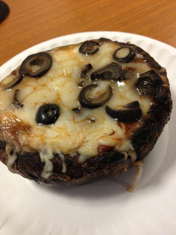 Portobello pizza, YUM!!!!! No bread use a potobello mushroom instead. These are amazing!