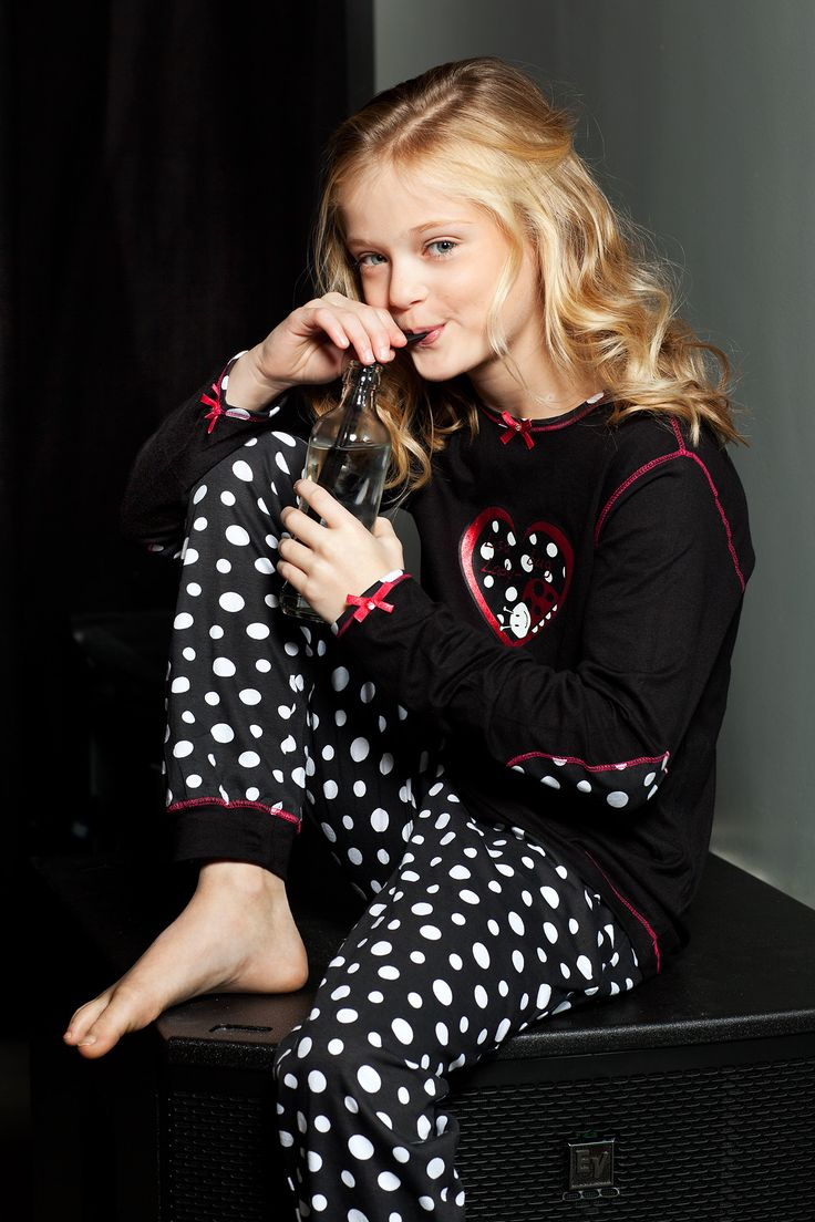 Lisa Lady Bug is a trendy & fun collection for young girls growing up - A young and sweet set with a cute ladybird dotted pyjama bottoms.