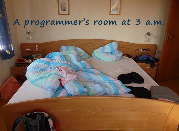 A programmer's room at 3 a.m.