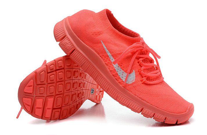 best website b5623 aaced Womens New Nike Free Flyknit+ 5 Bright Crimson Hot Red Silver Nike Free  Flyknit, Women