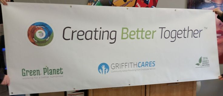 This banner for Griffith Laboratories completed by Speedpro Imaging Oshawa is a 3' x 8' digital print on 18 oz scrim with hem and grommets for the beginning of their re-branding process.