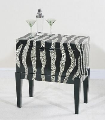 Exceptional Ultimate Accents Zebra Side Console In Crackle Black And White Design Ideas