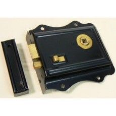 Black flanged rimlock with snib.  Patented steel casing with brass detail.125 x 115 x 17mm casing with 76mm backset.