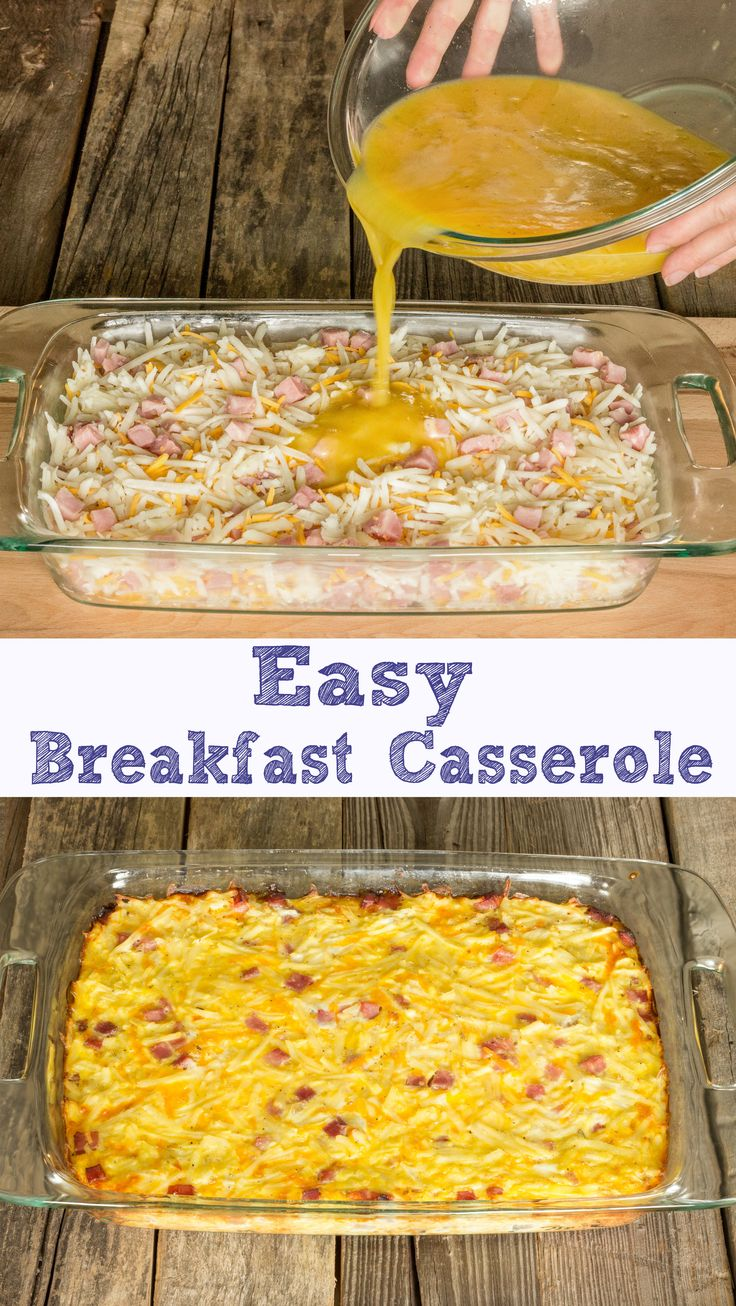 Easy Breakfast Casserole - only takes 5 minutes to prep!  Shredded hash browns, ham, cheese, and eggs.  So easy!