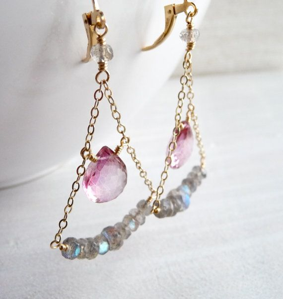 Chain, gemstones, and wire earrings