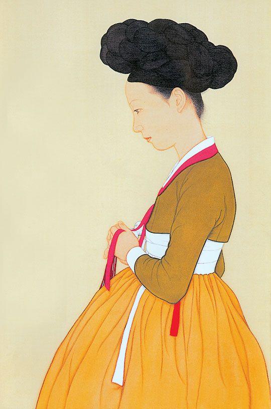 문화산책노트..  김선정작 신풍속도 신윤복의 미인도 구현  painter of korea  Seong-Jung Kim
