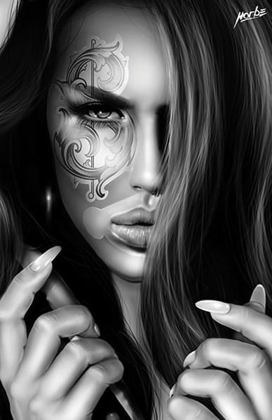 Sexy woman with a money sign tattoo over her eye. Title: Money Sign Eye Artist: Horbe Made-to-order giclee fine art reproductions on canvas featuring the origin
