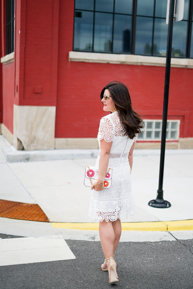 Style || @Bloomingdales Lace Flounce Dress || alilyloveaffair.com