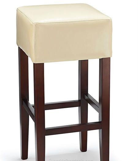 Rhone Cream Real Bonded Leather Walnut Frame Bar Stool No Back