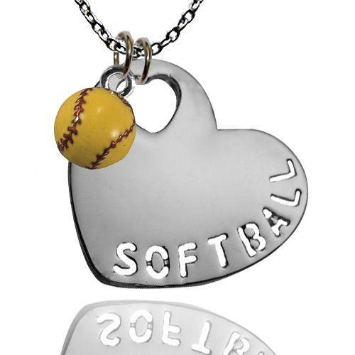 Silver Softball Heart and Mini Enamel Softball Necklace   Softball Jewelry