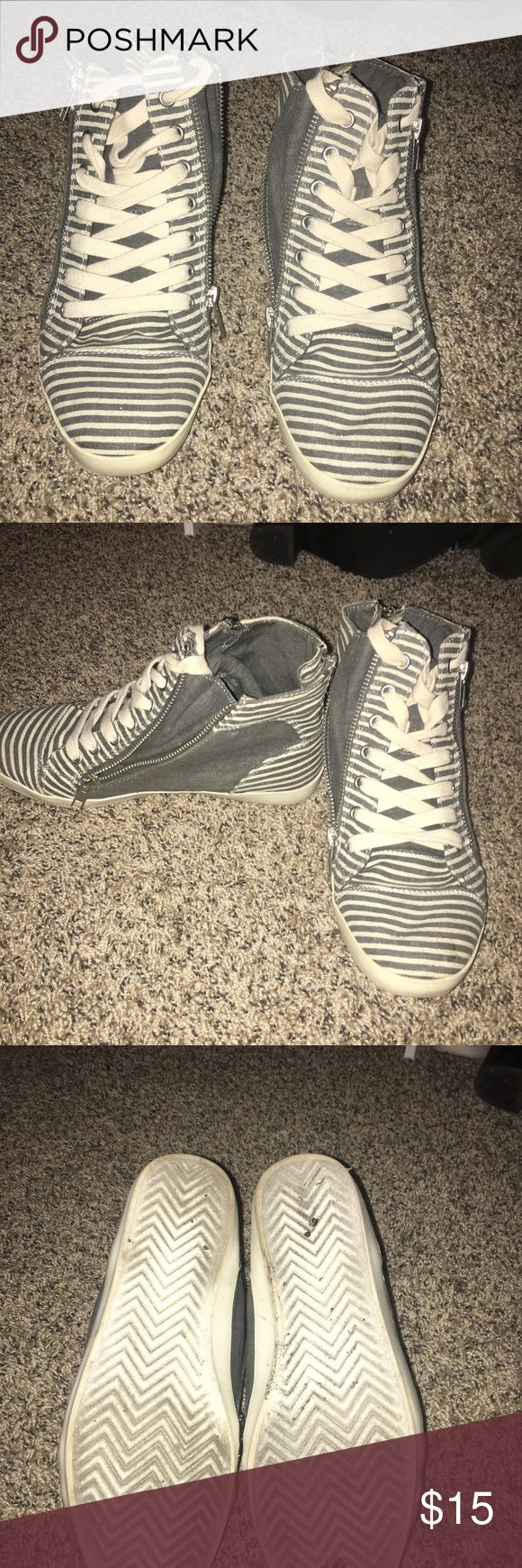 Striped sneakers Lightly worn, comfortable zipper sneakers! Forever 21 Shoes Sneakers