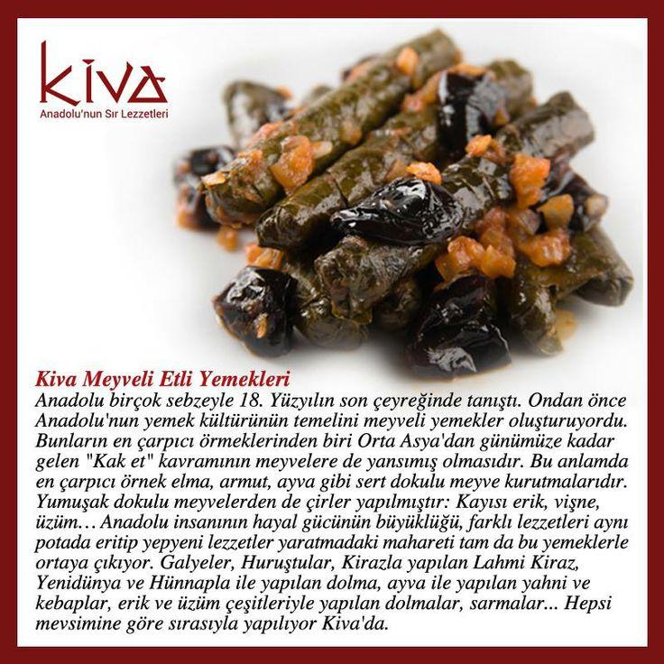 Anadolu insanının hayal gücünün büyüklüğünü, Kiva Ankara'nın birbirinden lezzetli mutfağında keşfetmeye ne dersiniz?  Bu keşif yolculuğuna Kiva'nın Meyveli Etli Yemekleri ile başlayabilirsiniz!   #kivaankara #ankara #turkishrestaurant #turkishcuisine #cuisine #restoran
