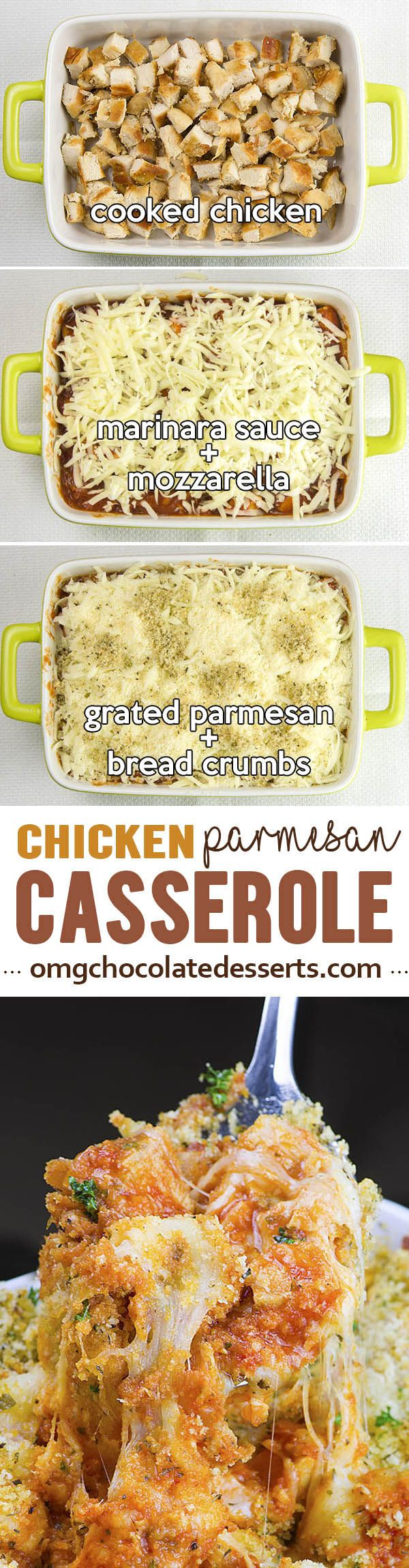 Chicken Parmesan Casserole served with pasta is quick, use gf bread crumbs or no breadcrumbs HEALTHY and EASY WEEKNIGHT DINNER for whole family. It's SIMPLE, FREEZER FRIENDLY RECIPE and great idea how to use up leftover chicken.
