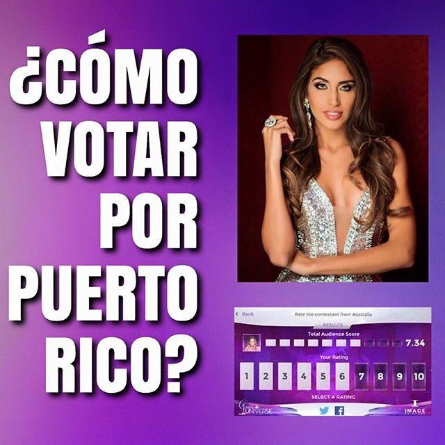Instrucciones sobre como votar: 1. Sintoniza Wapa o Fox (através de Cable TV) a las 8PM (hora de Puerto Rico) 7PM East. 2. Utilizando tu laptop o celular, accesa el sitio oficial de http://www.missuniverse.com/vote 3. Durante la transmisión, podrás votar en 4 rondas: Traje de Baño, Traje de Noche, Pregunta Final y Final Look. 5. Sólo podrás votar por Puerto Rico mientras esté en pantalla durante la ronda correspondiente. ¡Cuento con ustedes! #missuniverse  #misspuertorico