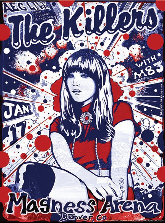 The Killers Poster By Artist Darren Grealish In 2020 Concert