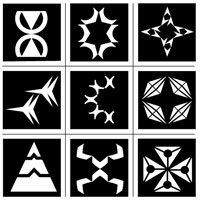 Free Printable Download Here is a set of nine simple black on white geometric designs.  They are really simple and bold, best for very young babies who are just sta...