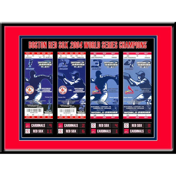 """Boston Red Sox 16"""" x 12"""" 2004 World Series Tickets To History Framed Print - $35.99"""