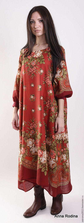 """Купить Платье """"Грушенька"""" красное - ярко-красный, платье, нарядное платье, платье из платка"""