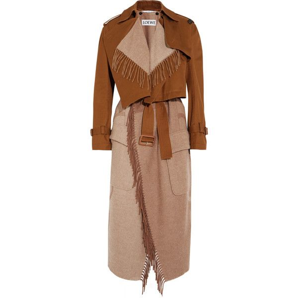 Loewe Convertible cotton-canvas and wool and cashmere-blend trench... (67 425 UAH) ❤ liked on Polyvore featuring outerwear, coats, tan wool coat, camel wool coat, beige coat, beige trench coat and woolen trench coat