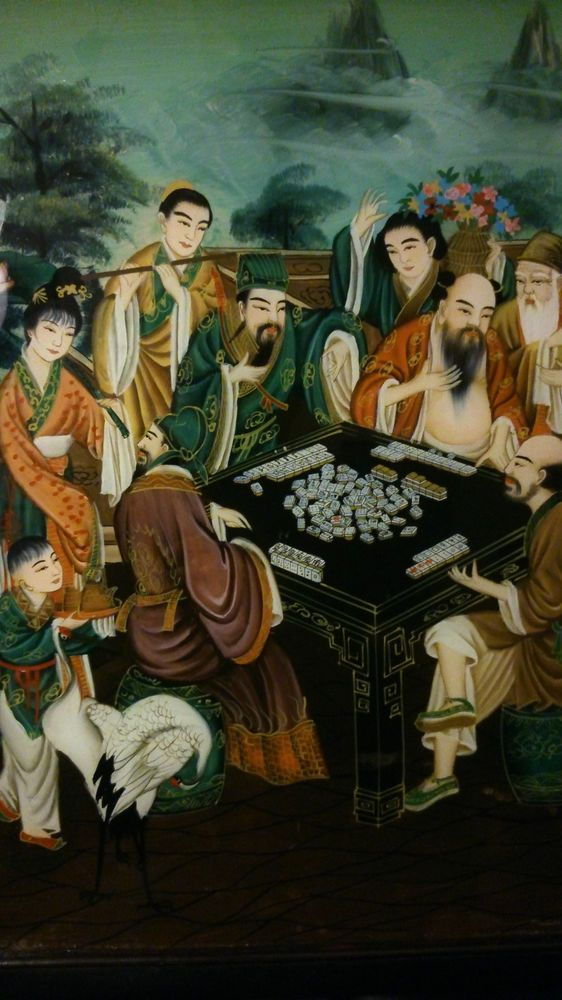 Peinture su verre  jeux de MAHJONG CHINE fin 19è Old China painting on glass