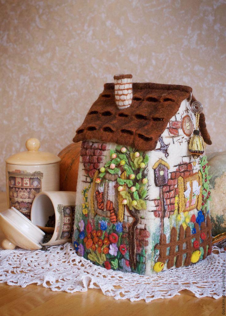 """Купить Домик-грелка """"Летний полдень"""" - комбинированный, грелка на чайник, грелка, грелка для чайника"""