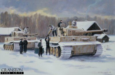 DHM1778. Rearm and Resupply by David Pentland. <p> Albert Kerscher and Otto Carius. Kinderheim, Narva Bridgehead 17th March 1944, 2nd Kompany, 502 Heavy Tank Battalion. Tiger I tanks of Albert Kersher and Otto Carius, of 2nd Company. Heavy tank Battalion 502, pull back to their headquarters at The Kinderheim to reload ammunition and refuel for the next engagement. <b><p> Signed limited edition of 1150 prints. <p> Image size 17 inches x 12 inches (43cm x 31cm)