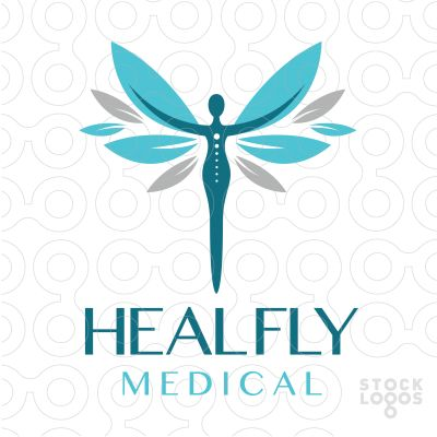 LOGO SOLD Beautiful powerful stylized person with their hands reaching outwards. Their hands are transformed into leave shaped wings.