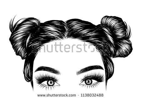 Loose Bunы With Black Hair Fashion Illustration For Salon