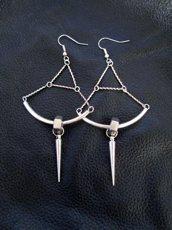 Nut spike earrings, silver tone, industrial, edgy, hardware hex nut, spike shoulder dusters, modern, geometric, statement earrings