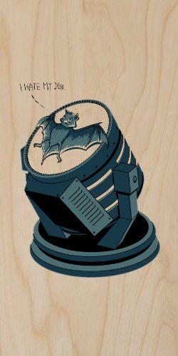 'I Hate My Job' Super Hero Comic Parody Bat on Spotlight - Plywood Wood Print Poster Wall Art
