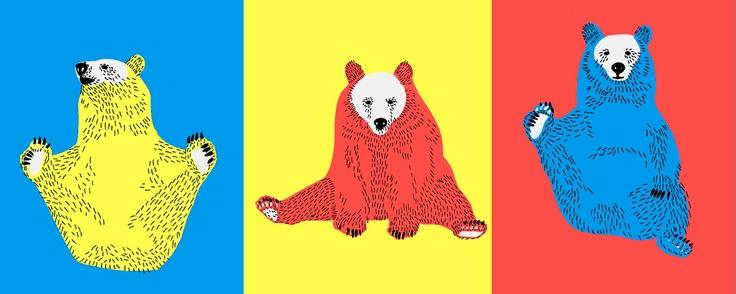 """Yoga Bears"" illustration for animation. Design by Kristiina Haapalainen 2010."